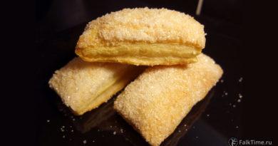 Слоёные язычки с сахаром