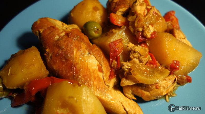 Курица, тушенная с картофелем и оливками