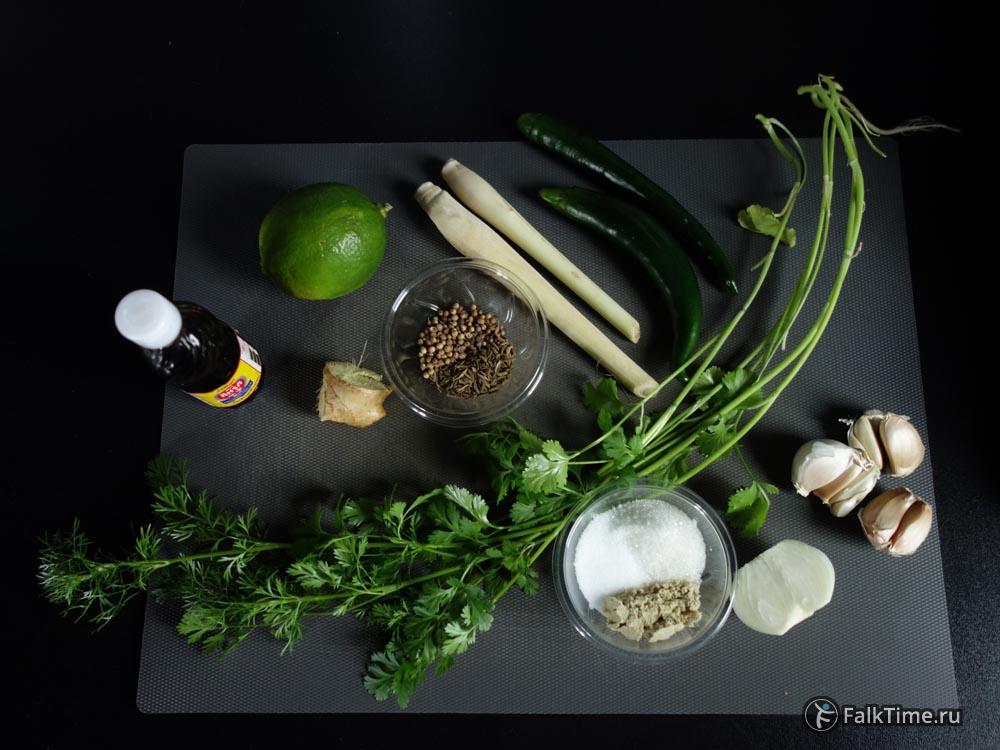 Ингредиенты для зелёной пасты карри